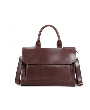 KAZUNO FLAP BRIEFCASE BROWN